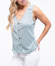 Load image into Gallery viewer, Crochet Trim V Neck Button front Woven Sleeveless Top Blu Pepper