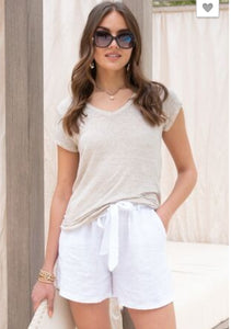 Mineral Wash Short Sleeve Linen Ladies T-Shirts in 5 Colors!