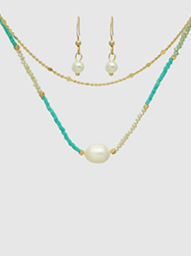 Fresh Water Pearl & Turquoise Seed Bead Layered Necklace Adjustable