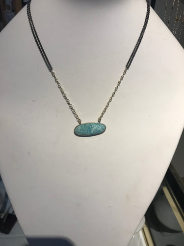 Gold and Black Rhodium Silver with Amazonite Necklace