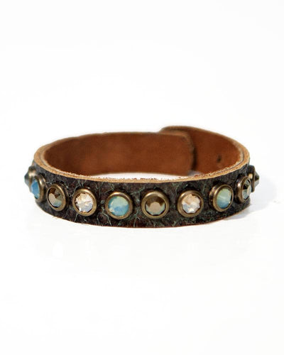 Leatherock Sky Soft Italian Leather Bracelet with Swarovski Crystals