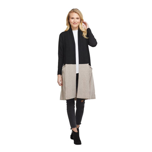Mud Pie Colorblock Open Cardigan Sweater with pockets