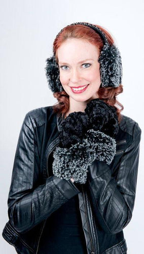 Pandemonium Reversible Mittens Black/Ivory with Silver Tipped Cuffs