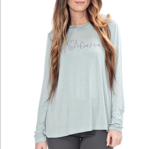 Bee Attitudes Fierce Split Back Long Sleeve Tee Activewear Top