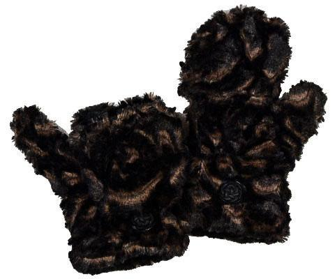 Pandemonium Flip Mittens Luxury Faux Fur in Vintage Rose