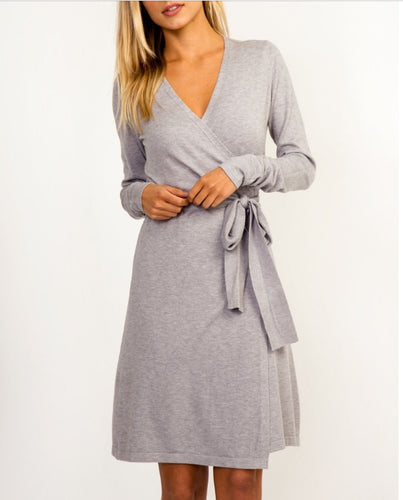 Olivaceous Gray Sweater Wrap around Dress