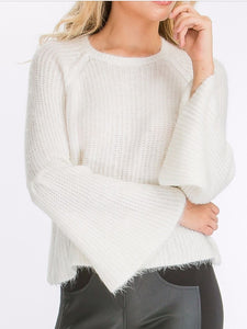 Olivaceous Fuzzy White Sweater with Bell Sleeves