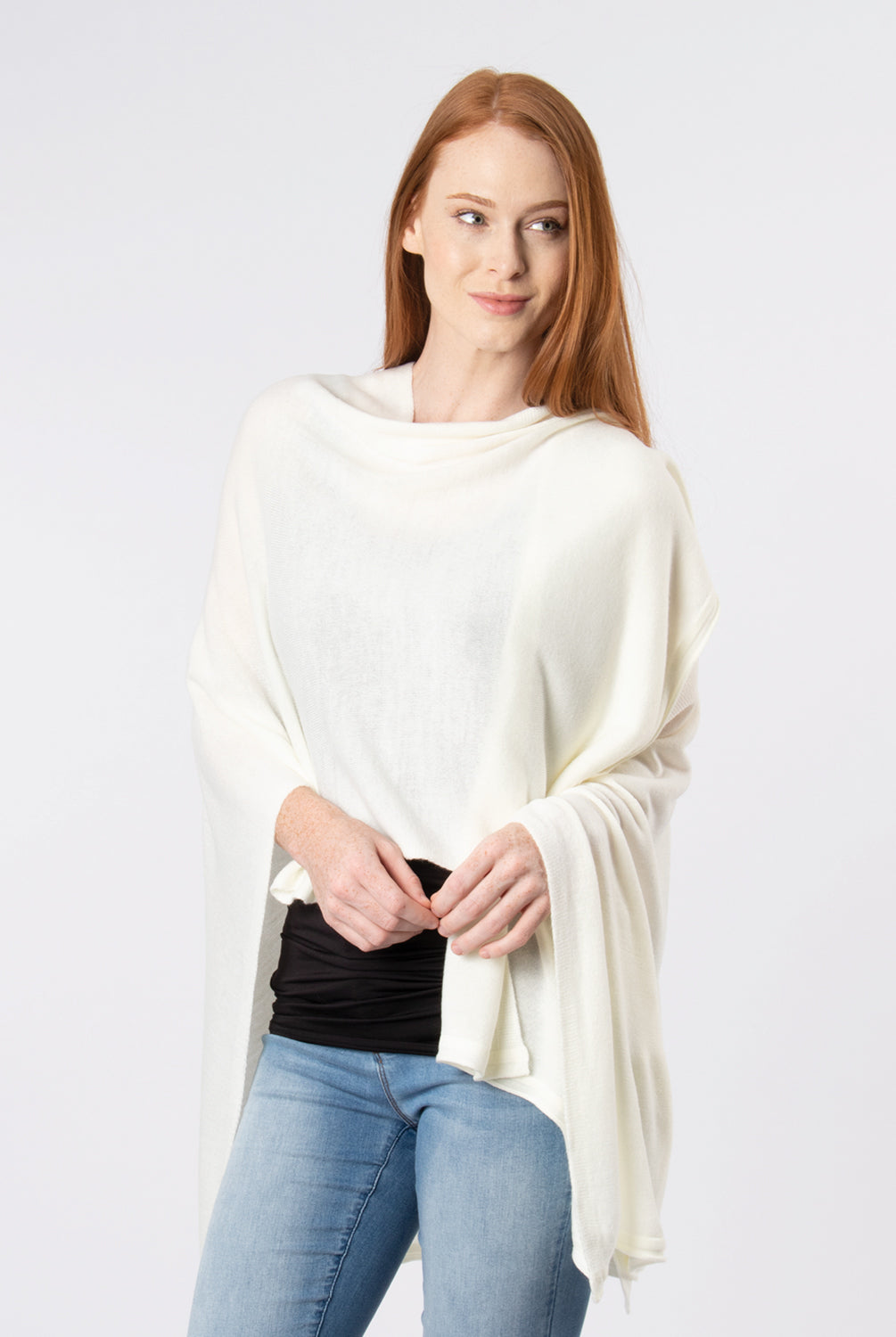 Simply Noelle Bordeaux Wrap Shawl Poncho Ivory One Size