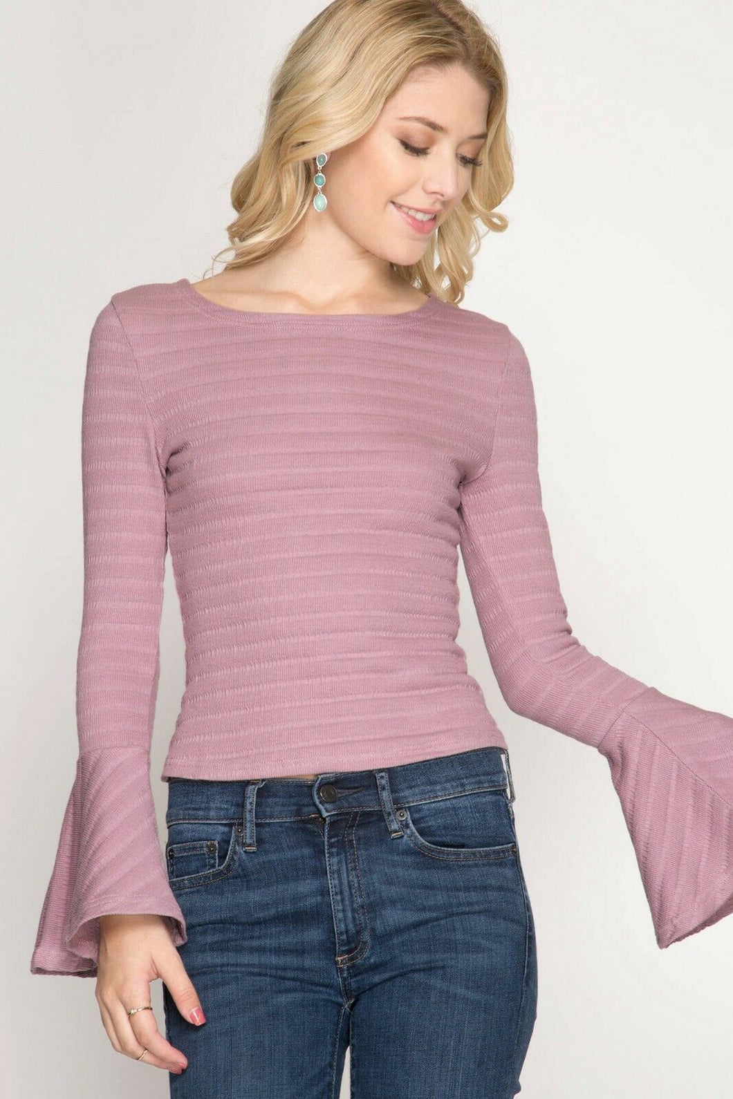 Juniors Ladies Girls Spring Cropped Bell Sleeve Mauve Pink Top