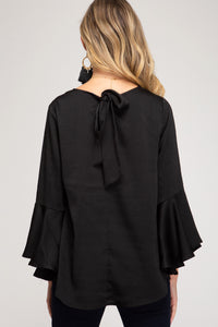 BELL SLEEVE SATIN TOP WITH BACK TIE DETAIL