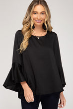Load image into Gallery viewer, BELL SLEEVE SATIN TOP WITH BACK TIE DETAIL