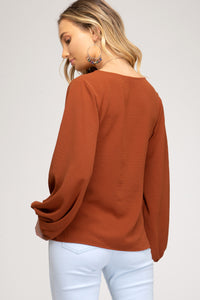 LONG BALLOON SLEEVE WOVEN TOP