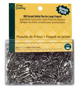 "Curved Safety Pins in Nickel Plated Steel, 1 1/16"" x 300 Count"