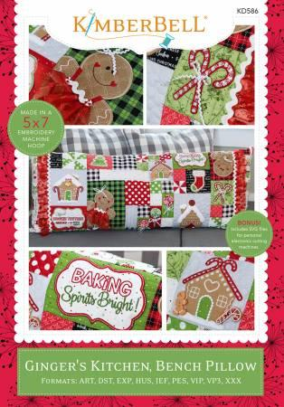 Ginger's Kitchen Bench Pillow Machine Embroidery CD # KD586 - Pre-Order Item