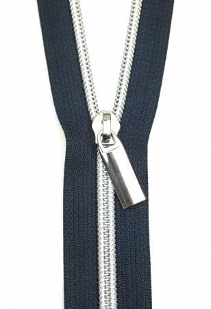 Zippers by the Yard - Navy w/Silver Teeth