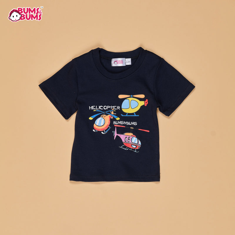 BLACK - HELICOPTER SHORT SLEEVE TSHIRT (1/2Y-11/12Y)