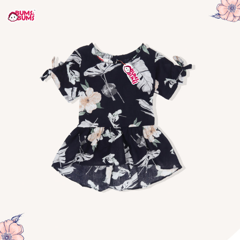 DELICATE HIBISCUS DARK BLUE BLOUSE (2Y-12Y) - SMALL CUTTING