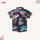 PINK TURQUOISE FERN LEAF NAVY BLUE SHIRT (2Y-12Y) - SMALL CUTTING