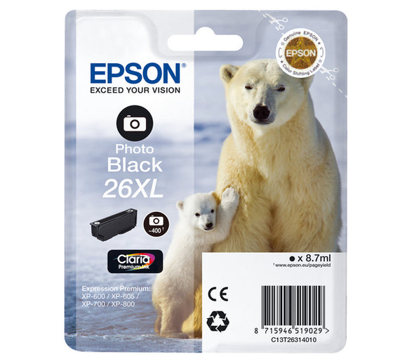 Epson T2631 26XL Hi Capacity Photo Black Ink Cartridge