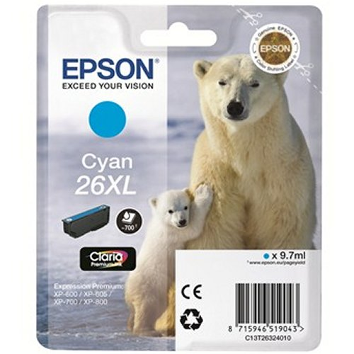 Epson T2632 26XL Hi Capacity Cyan Ink Cartridge