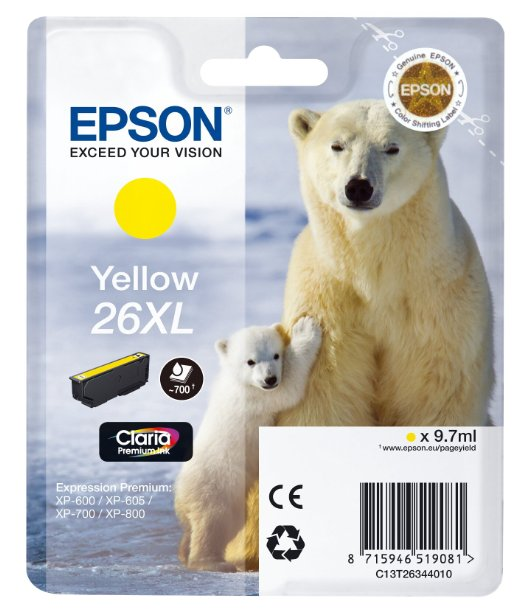 Epson T2634 26XL Hi Capacity Yellow Ink Cartridge