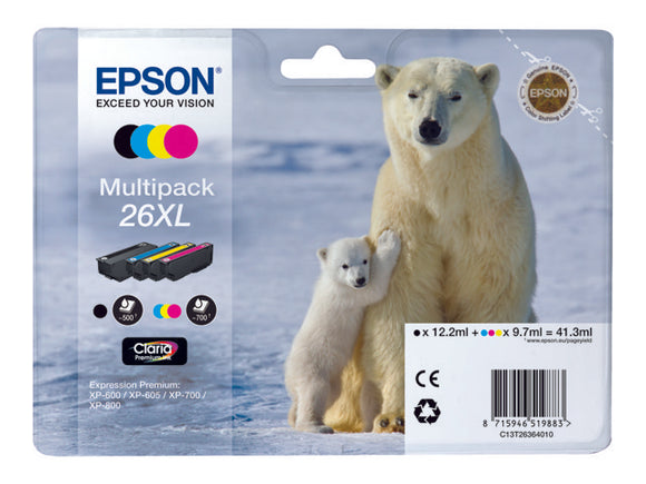 Epson T2636 26XL Hi Capacity Multipack Of 4 Ink Cartridges