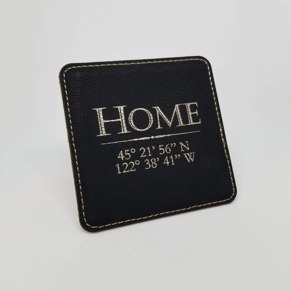 Leatherette Coaster Set (6) with Holder