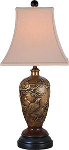 Solid Brass Birds Vase Table Lamp/Jade Base