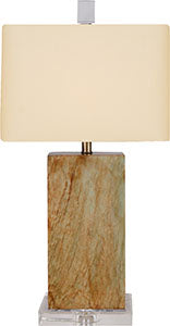 Hand Polished Solid Jade Table Lamp with Crystal Base