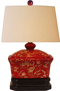 Porcelain Hand painted Red Lacquer Piano Lamp