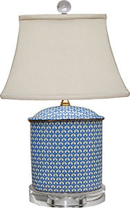 Porcelain Blue& White English Oval Table Lamp/ Crystal Base