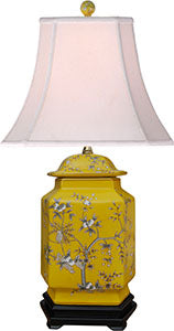 Porcelain Yellow Fruit Rectangle Jar Lamp