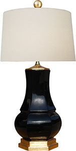 Porcelain Black Vase Lamp with Gold Top & Base