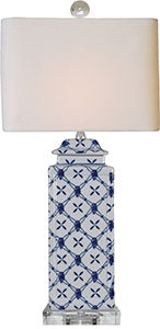 Porcelain Blue & White Square Jar Lamp/ Crystal Base