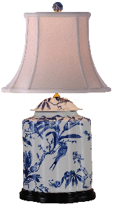 Porcelain Blue & White  Lily Scallop Jar Lamp