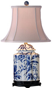 Porcelain Blue& White Scallop Tea Jar Lamp