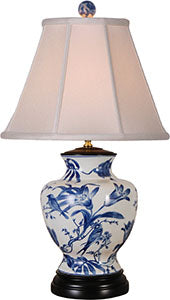 Porcelain Blue& White Lily Table Lamp
