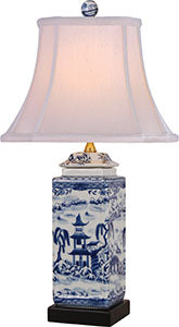 Porcelain Blue& White Canton Square Jar Lamp