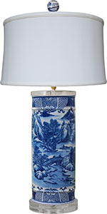 Porcelain Blue& White Table Lamp/Crystal Base& Top
