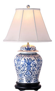 Porcelain Blue& White Temple Jar Lamp