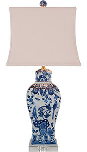 Porcelain Blue& White English Table Lamp/Crystal Base