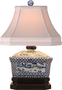 Porcelain Blue& White Canton Box Lamp
