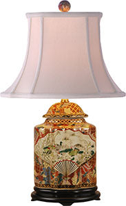 Porcelain Satsuma Scallop Tea Jar Lamp
