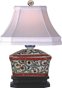 Porcelain Green Floral Box Lamp
