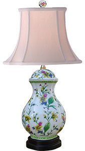 Porcelain Tulip Oval Jar Lamp