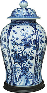 Porcelain Blue& White Temple Jar/Base