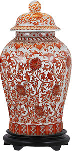 Porcelain Orange Floral Temple Jar/Base
