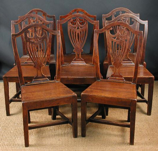 Set of Eight Fruitwood Country Dining Chairs, c.1800