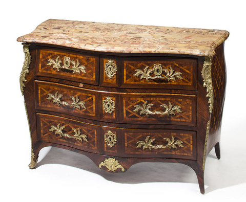 Period Louis XV Gilt Bronze Mounted Kingwood and Tulipwood Parquetry Commode Stamped Delorme mid 18C