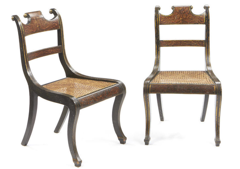 Set of Six early 19C polychrome decorated and ebonised cane dining chairs